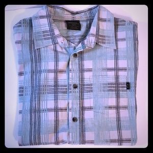Oakley Teal Button Front Plaid Shirt Size Small